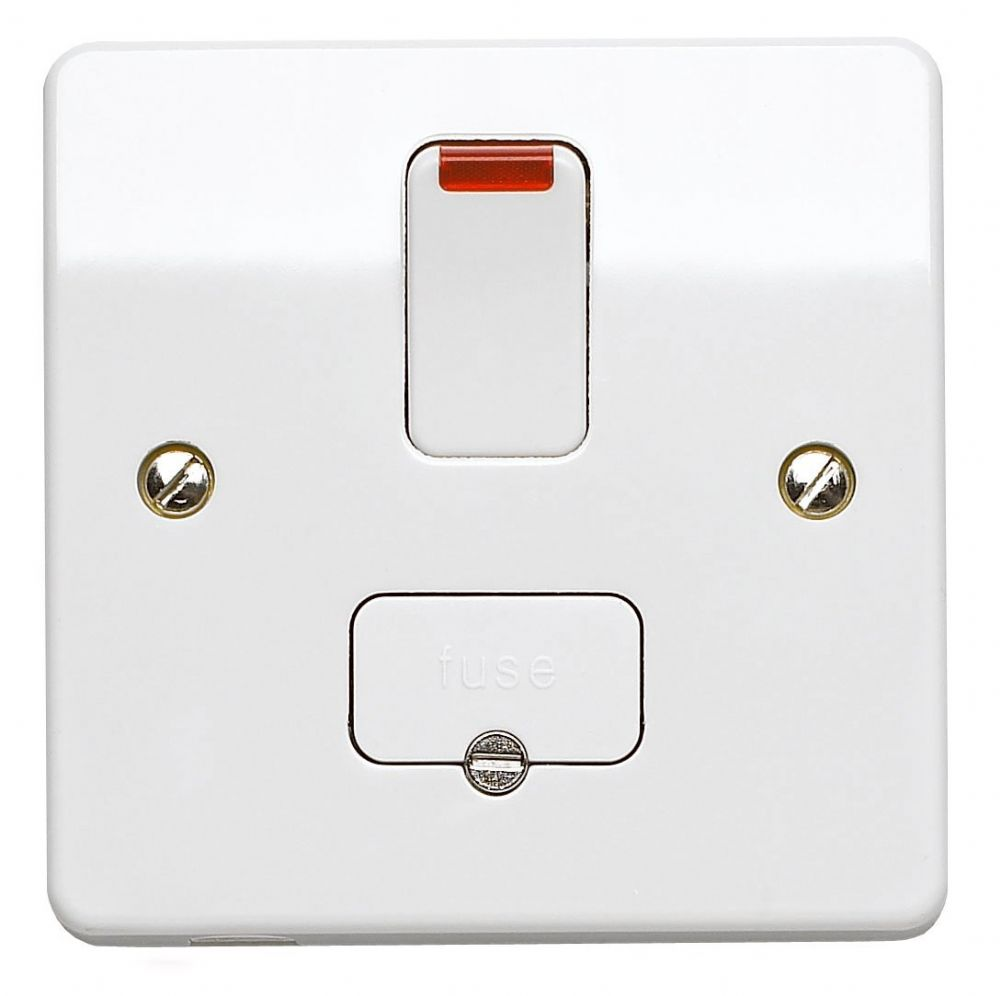 MK Electric K1060WHI Logic Plus White Moulded Double Pole Switched Connection Unit With Neon 13A.
